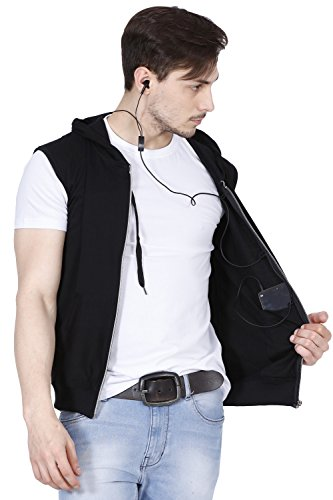 Fanideaz Branded Hooded Cotton Black Zipper Jacket Sleeveless TShirts for Men 2XL
