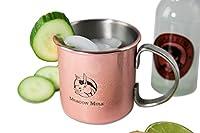 Original Design Moscow Mule Kupfer-Becher, handgemacht aus Edelstahl mit Kupferbeschichtung | Cocktail-Krug mit 450ml Füllmenge | Ideal für eiskalte Gin- und Vodka-Longdrinks