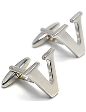 MESE London Buchstaben Alphabet Buchstaben Manschettenknöpfe Initiale - Buchstabe V Silbere - Elegante Geschenkbox