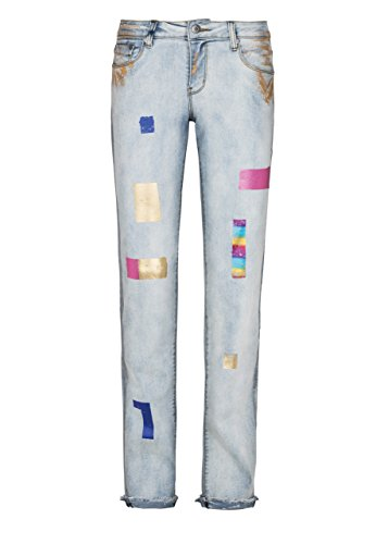 Million X Victoria Colour-Print Bleached Denim