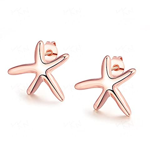 Fashion Jewelry Personality Starfish Shape Stud Earrings for Women Rose Gold Plated