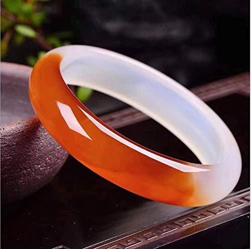 shixiaodan Armreifen,Authentische natürliche Schönheit rot und weiß Transport Chalcedon Achat halb halb Wallshan Armband