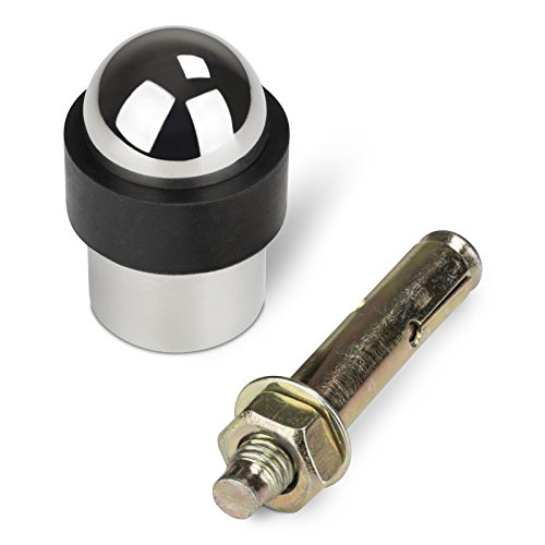 Preisvergleich Produktbild STOPPLA 1 x Türstopper echt Edelstahl poliert Ø 35 mm Höhe 51 mm für Bodenmontage Stabiler Bodentürstopper