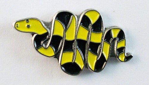 Mainly Metal Metall Emaille Brosche gestreift Schlange (schwarz & ()