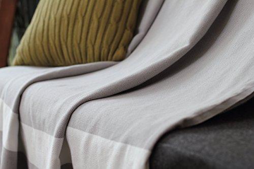 Allée Déco Copridivano 100% cotone naturale, colore beige o grigio perla, taglia XL 150x 250cm, tessitura tradizionale Chevron, grigio perla, 150 x 250 cm