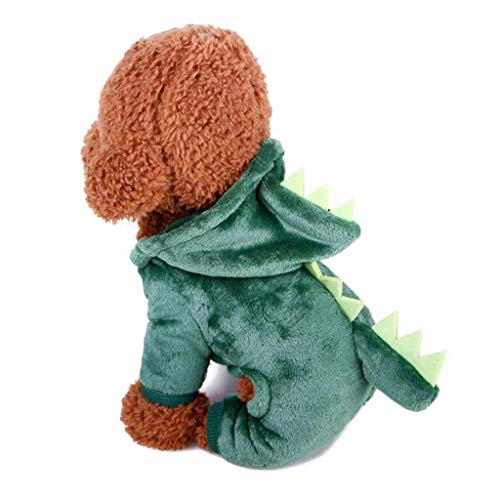 Sile Haustier Kleidung, Niedliche Cartoon-Stil Dinosaurier Cosplay Kostüm Verdicken Haustiermantel für Hunde und Katzen SL-012 (Farbe : Grün, größe : Xs)