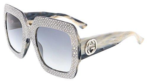 Gucci - GG 3861/S, Geometrico, acetato, donna, GREY CRYSTAL HORN/LIGHT GREY SHADED(Y4X/VK), 54/25/145
