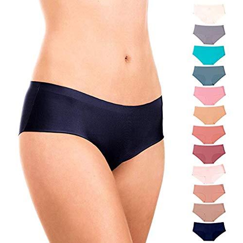 QinMM Mutandine Slip Brasiliano Invisible Bassa di Colore Puro da Donna Mutande Bikini Basic a Vita Media Perizima Brasiliana Invisibibli a Vita Bassa per Donna Pacco da 12