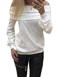 Mengonee Mujeres Top del Hombro T-shirtBlouse niñas Mujer Otoño Invierno ...