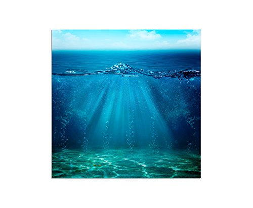 80x 80cm-stampa fotografica su tela e telaio mare acqua Grund baldacchino sfondo-tela su telaio elegante (Mare Su Tela)