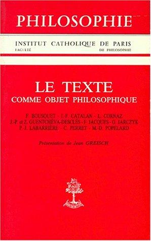 Le texte comme objet philosophique par Collectif