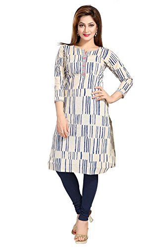 Dream & Dzire Blue & Beige Cotton Khadi Hand Printed Ethnic Wear Kurti for Women's