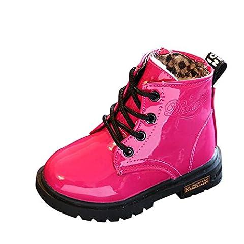 Chaussures pour Filles d'hiver, Moonuy Enfants d'hiver mode garçons filles Martin Sneaker chaussures Neige épaisse chaussures en cuir artificiel occasionnel Bottes imperméables (25, Rouge)