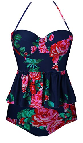 Angerella Vintage Swimwear Badeanzug Blumenmuster Tankini Bikini Set Swimsuit Für Frauen