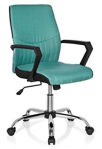 hjh OFFICE 723022 Bürostuhl SMOOTH Stoff Türkis Home-Office Schreibtischstuhl mit Armlehnen