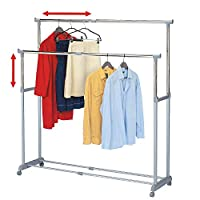 Tatkraft Big Party Double Clothes Rail Telescopic Extendable Extra Space Chromed Steel 150 X 44 X 166 cm