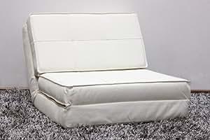 Design Sessel mit Bettfunktion Kunstleder verschiedene Farben, Farbe:Beige
