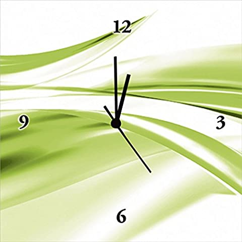 Artland Wand-Uhr Digital-Druck Leinwand auf Holz-Rahmen gespannt mit Motiv 2jenn Schöne grüne Welle - Abstrakt Abstrakte Motive Gegenstandslos Digitale Kunst Grün 30 x 30 x 2,8 cm