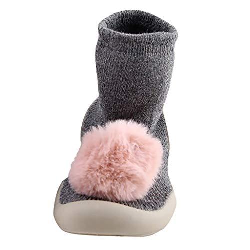 WEXCV Baby Socken Schuhe Kinder-Hüttenschuhe aus Baumwoll Niedlich Einfarbig Haarball Gummisohlen Kinder Rutschhemmender Sohle Unisex für Mädchen und Jungen Warm Kleinkindschuhe