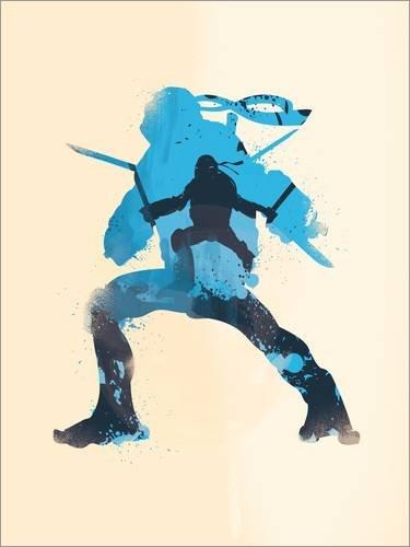 Holzbild 30 x 40 cm: Leonardo blue silhouette art von (Turtle Ninja Name Blue)