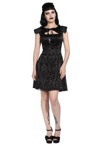 Abito elegante nera senza maniche, motivo: gotico aristocrate camé e croce Nero