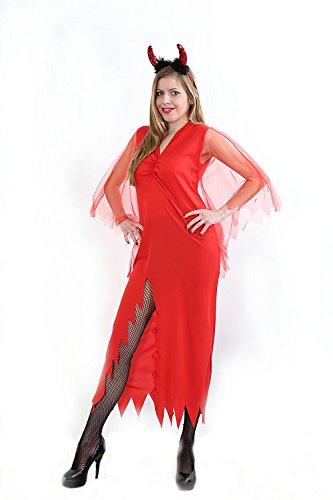 n-Kostüm Teufels-Kostüm Satan Natas Diable Höllenmeister Höllen-Dame Rotes Langes Kleid Spitzen-Schlitz Gr. M (Satan Kostüme)