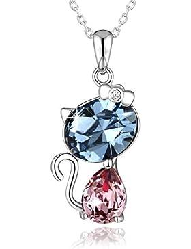 Katzen Anhänger Silberkette Damen Halskette mit Swarovski Kristall, Was größeres Geschenk als die Liebe einer...