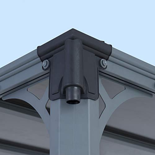 Aluminium Pavillon Überdachung Gazebo Milano 300 308x308 cm // Sommer-Pavillon und Garrtenpavillon mit 6mm Doppelstegplatten - 6