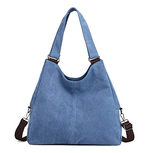 Mode Umhängetasche Canvas Bag Damentasche New Fashion Tote Casual Solid Color Lady Tasche Wild Messenger Cross Umhängetasche Blau 34 * 38 * 13cm -
