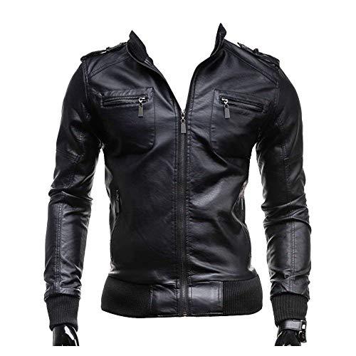 Adelina Herren Slim Fit Zipper Mantel Kunst Jungen Kunstleder Jacke Lederjacke Bikerjacke Outerwear Mantel (Color : Schwarz, Size : M)