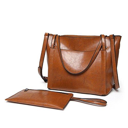 UGOOO Damen Handtasche Leder Umhängetasche Vintage Schultertasche klein Shopper Taschen Henkeltasche (Braun)