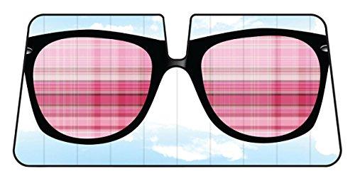 Pink Sonnenbrille Reflektierende Double Bubble Folie Jumbo zusammenklappbar Akkordeon Sonnenschutz für Auto Truck SUV vorne Windschutzscheibe Fenster wendbar Sonne Schatten Universal 71,1x 147,3cm BDK