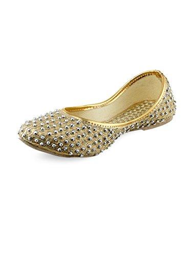 Shoe Lab Women's Gold Juttis-5 UK/India (38 EU)(121mojari)
