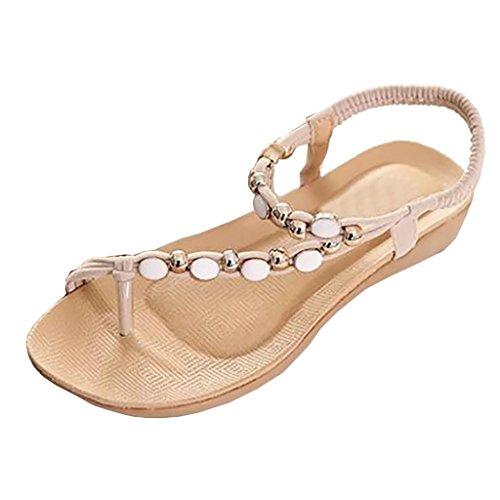 HARRYSTORE Frauen Bohemia Freizeit Sandalen Perlen Dekoration Peep-Toe Flache Flip Flops Schuhe (39, Beige) (Braune Sandalen Flache)