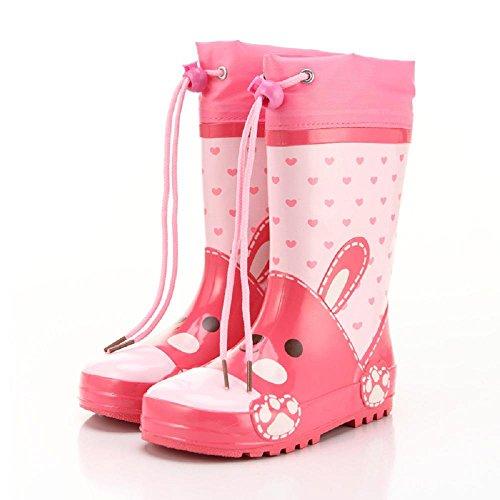 À l'extérieur Enfants Pluie Chaussures Dessin animé Dinosaures Lapin Anti-dérapant Pluie Bottes pink