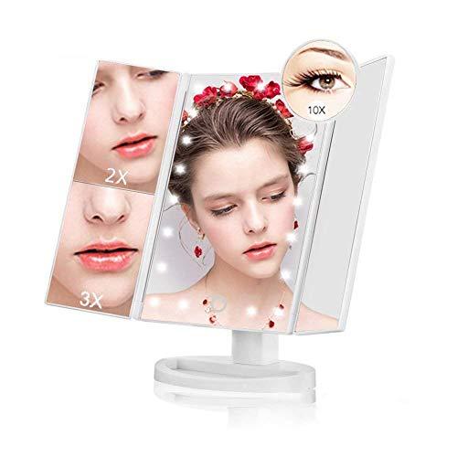 Espejo Maquillaje Plegable Iluminado 21 LED Espejo