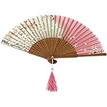 Magideal Sakura Abanico de Bambú Hecho de Mano de Color Blanco y Rosa