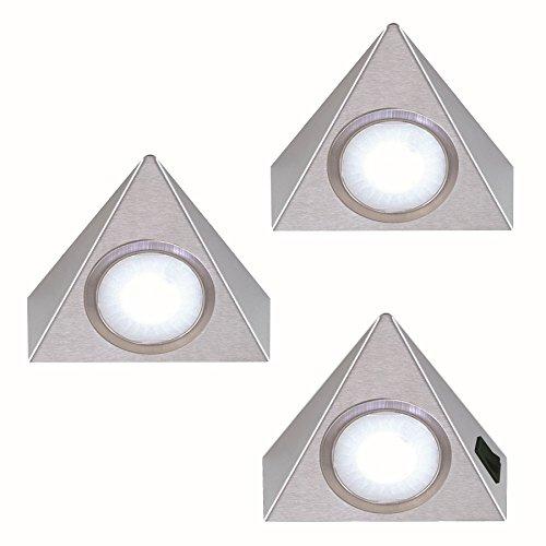 3-er Set Unterbauleuchte 3x 1,3 W Edelstahl Dreieckleuchte neutralweiss Regallampe Küchenleuchte *551903