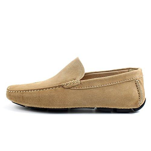 GIORGIO REA Chaussures Homme Car Shoes Camel Mocassins Mâle Main Italiennes, Cuir, Élégant, Classique, Oxford Classic Shoes