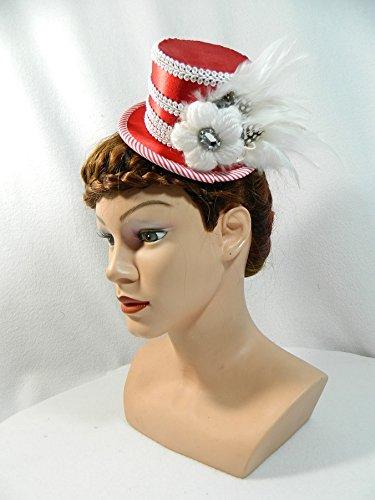 Kostüme Frau Für Haare Rote (Mini-Zylinder sexy Weihnachts Damenhut Hütchen Fascinator rot)