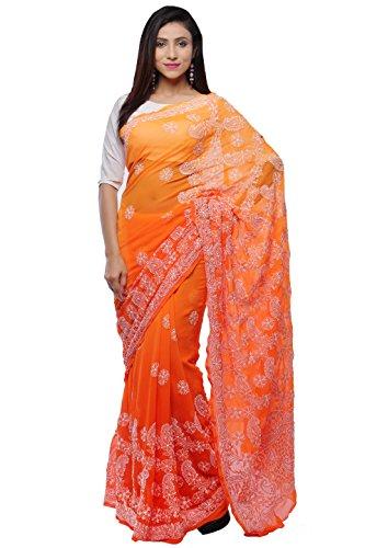 Bds Chikan Women's Georgette Saree (Bds00284_Orange And Light Orange)
