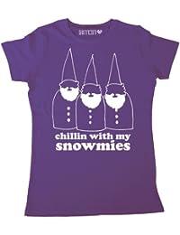 Batch1 Women's Chillin With My Snowmies Winter Ski Snowboard Snowman Gnomies Fun T-Shirt
