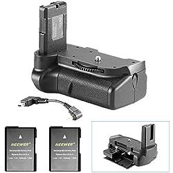 Neewer Poignée Batterie Fonctionne avec EN-EL14 Batteries + 2 Pièces de Remplacement EN-EL14 Batterie 7,4V 1050mAh pour Nikon D5100 5200 D5300 DSLR