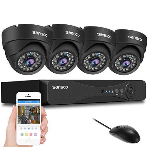 SANSCO All-in-One Smart-CTV-Kamerasystem mit 1080P DVR und 4 x 2,0 MP FHD Tag Nacht vandalensichere Dome Cam