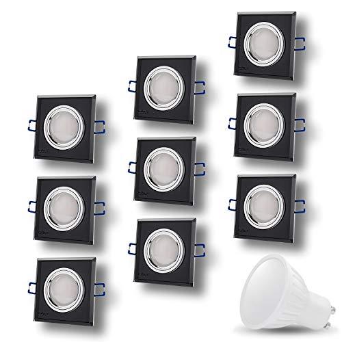 LED Einbaustrahler aus Glas/Spiegel/Schwarz CRISTAL Eckig Inkl. 9 X 7W LED Warmweiss 230V IP20 LED Deckenstrahler Einbauleuchte Deckeneinbaustrahler Einbauspot Deckeneinbauleuchte Deckenspot -