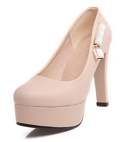 AgooLar Femme Pu Cuir Mosaïque Tire Rond à Talon Haut Chaussures Légeres Abricot