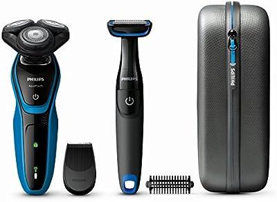 Philips AquaTouch - Afeitadora (Rotación, Negro, Azul, LED, Batería, Níquel-metal hidruro (NiMH), Integrado)