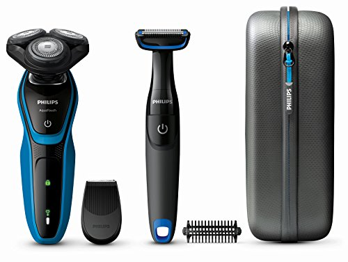 Philips S5050/64 AquaTec Wet & Dry Rasoio Elettrico con Rifinitore di Precisione + BodyGroom per Zone Sensibili con Sistema Skin Protector + Custodia da Viaggio