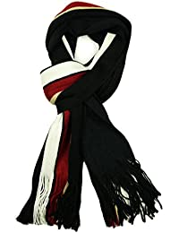 Mens Luxury Striped Winter Scarves Neck Scarf in Black Grey Blue White Burgundy