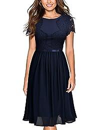Miusol Damen elegant Abendkleid Sommer Chiffon festlich Kleid Cocktailkleid Vinatge kleider Blau Gr.36-44